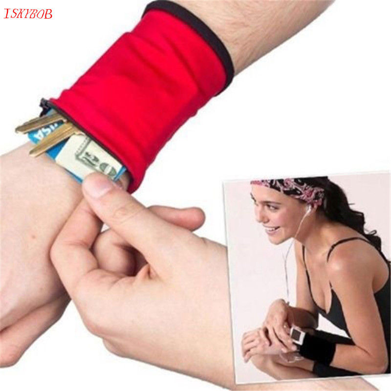 New Wrist Band Safe Wallet Storage Zipper Ankle Wrap  Cotton Wristband Sweatband bag  Band travel Wrist Supp sport cotton wrist brace wrap support black
