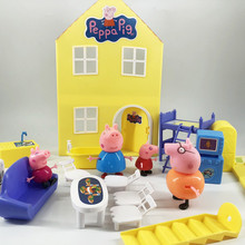 Peppa Pig Toys House Doll Family Gathering Model Action Figures Family Member Early Learning Educational Toys for Children gift peppa pig toys doll real scene model house pvc action figures family member toys early learning educational toys for children