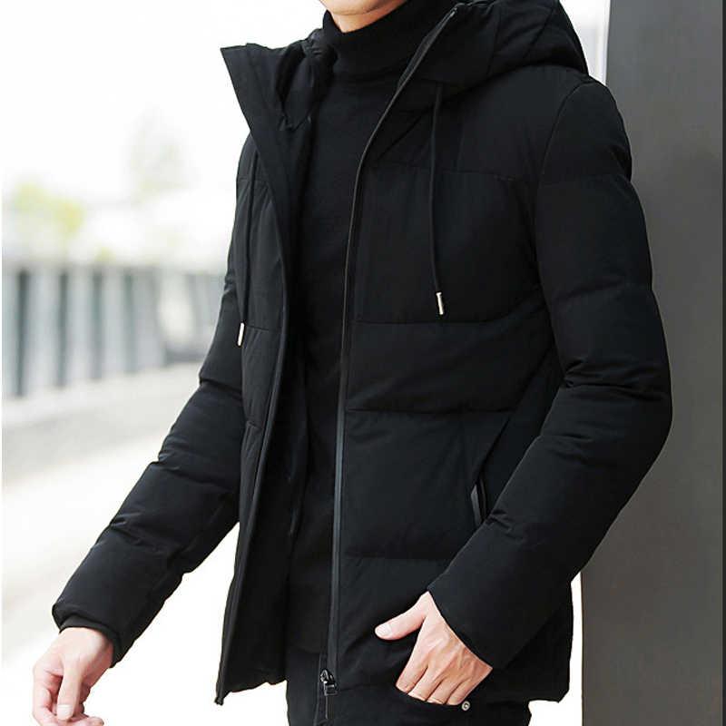 Роскошная Новая брендовая зимняя куртка мужская одежда 2018 Повседневная  стойка воротник с капюшоном воротник модное зимнее 7034208100b