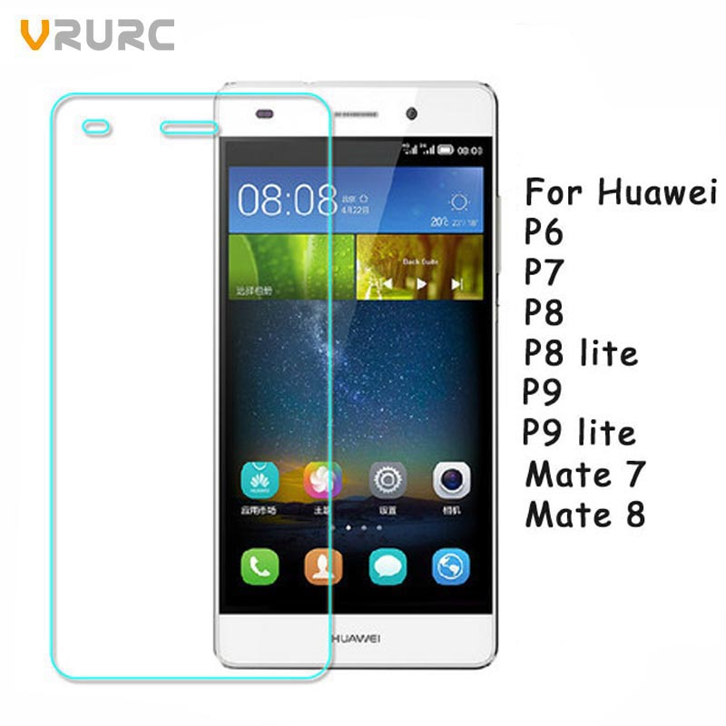 Vrurc Tempered Glass for Huawei P6 P7 P8 P9 P8 lite P9 lite 2016 Screen Protector Explosion Proof film For Huawei mate 7 8 glass