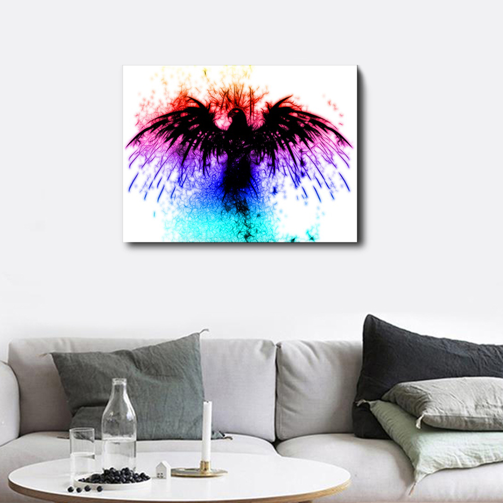 Modern Abstract Watercolor Bird Oil Painting Print on Canvas Pop Art Animal Poster Wall Picture for Living Room Unique Art Decor