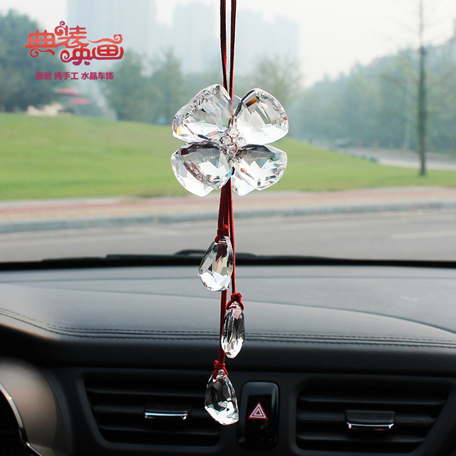 Factory direct crystal pendant car accessories gift ideas four leaf ...