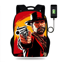 Red Dead Redemption 2 Cartoon Painting school bags backpack for teenagers high boys girls student USB bag