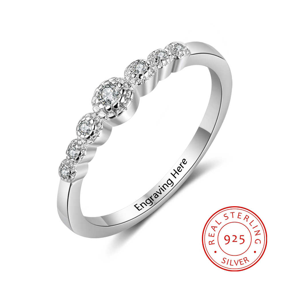 Personalized 925 Sterling Silver Exquisite CZ Rings For Women DIY Name Engraved Wedding Engagement Jewelry (RI103751)