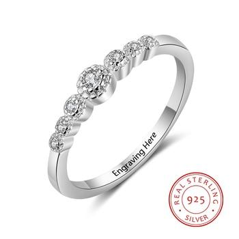 f732790d81cc Personalizado de Plata de Ley 925 Plata exquisita CZ anillos para las  mujeres DIY nombre grabado joyería del compromiso de la boda (RI103751)