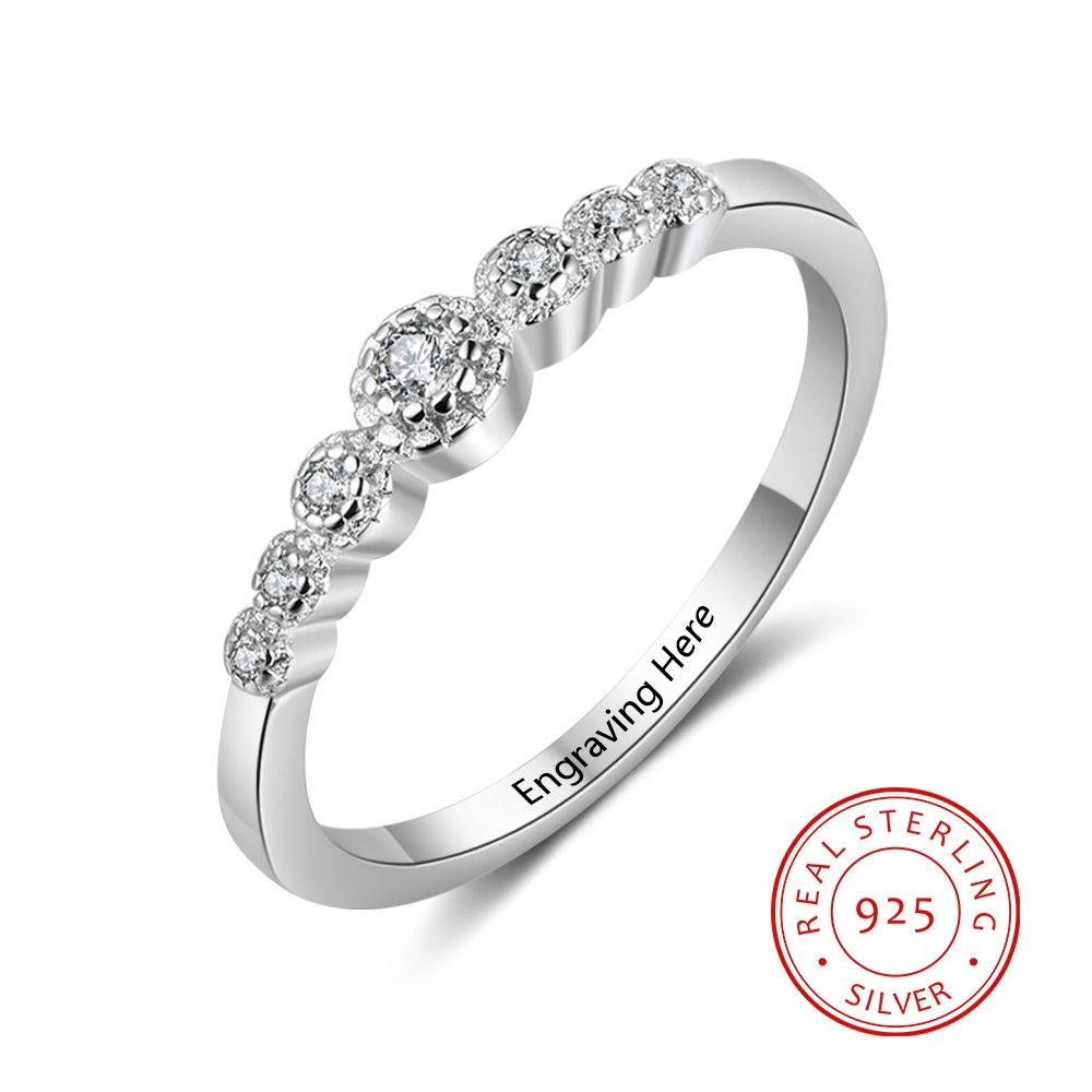 Us 4 99 40 Off Personalized 925 Sterling Silver Exquisite Cz Rings For Women Diy Name Engraved Wedding Engagement Jewelry Ri103751 In Wedding