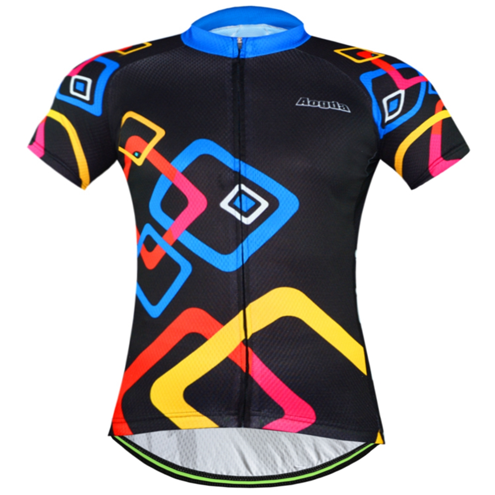 Prix pour Vélo équipe 2016 femmes/hommes Coloré spandex maillot hauts/AOGDA En Plein Air à manches courtes vélo vêtements d'été style Vêtements de vélo