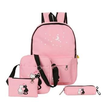 4cs/set Canvas Women Backpacks Schoolbag Printing Cute Cat School Bag Backpack For Teenager Girls Green Rucksack Moclila hot