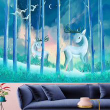Nordic style wall hanging tropical Forest elk tapestry cute kids room goblen Psychedelic animals Yoga Mat Wall cloth Home Decor