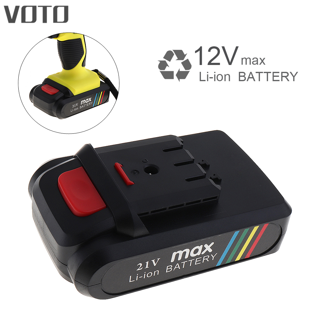 VOTO Universal 21V Max Li-ion Rechargeable Battery with Flat Push Type for Electric Drill / Electric Screwdriver voto universal 21v max li ion lithium rechargeable battery with flat push type for electric drill electric screwdriver