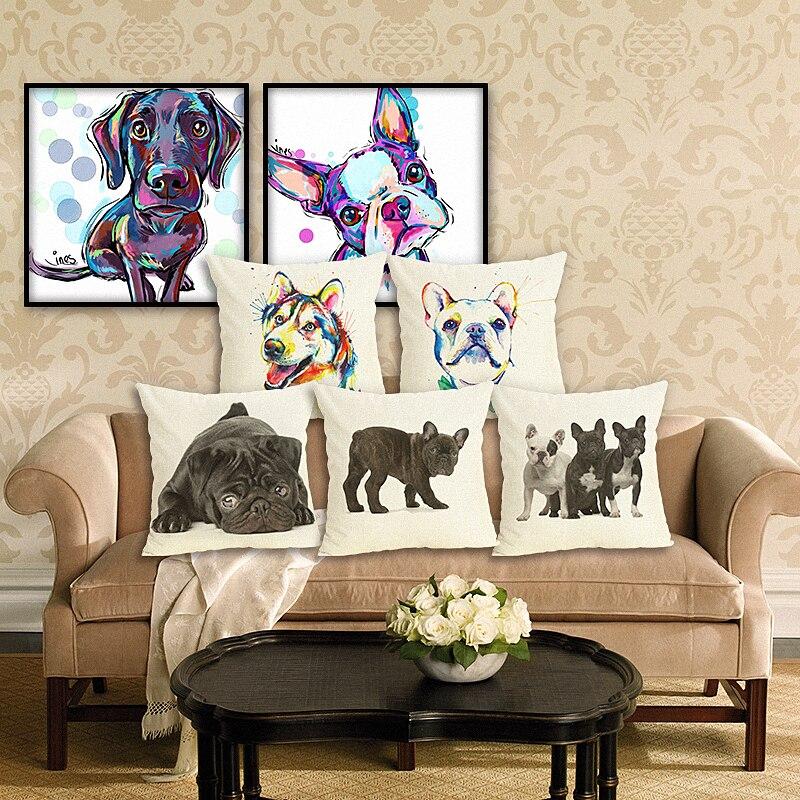 RECOLOUR  cute bulldog dachshund Printed Cushion covers Home Decor Cojines Sofa Throw Pillows Cotton Linen Square Fundas