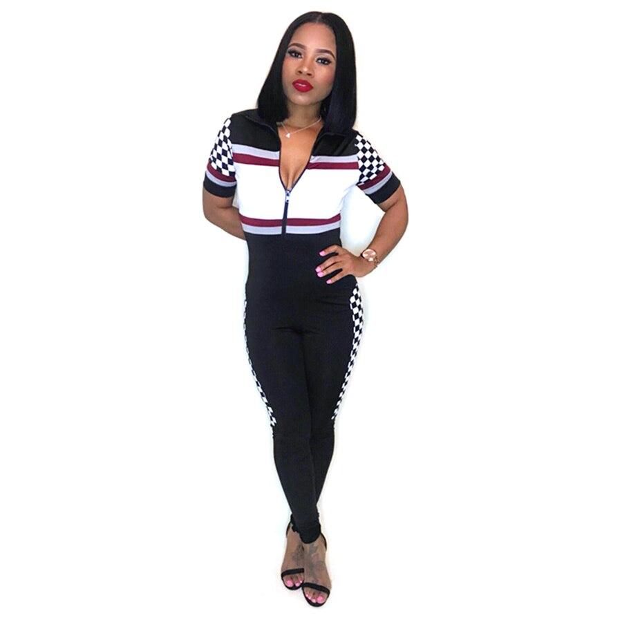 aa1d4bdf8a52 SexeMara Sexy Printed Short Sleeve Jumpsuit Moto Biker Sexy Waist Overalls  Deep V-Neck Rompers Fitness Playsuits Jumpsuit 2018