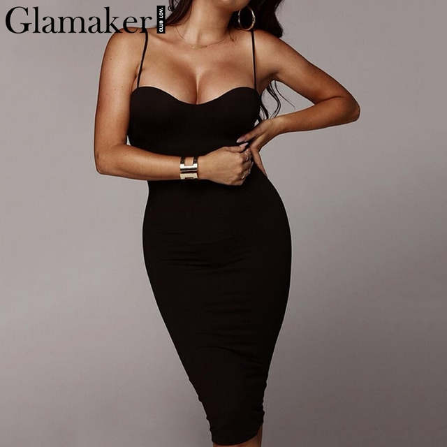 Glamaker Backless Dress Glamaker Sexy black strap backless bodycon dress Women casual summer beach  dress Female holiday long party club dress vestidos