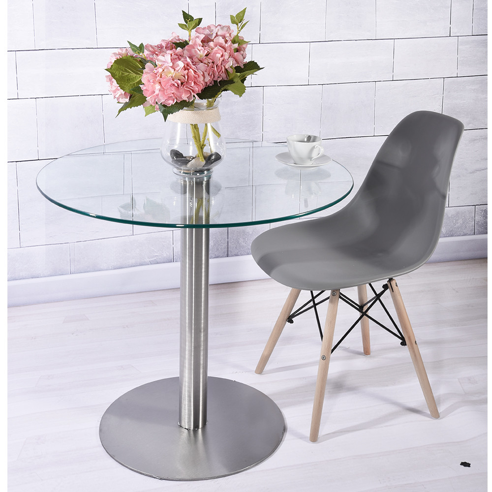 Round Dining Table Modern 10mm Clear Tempered Glass