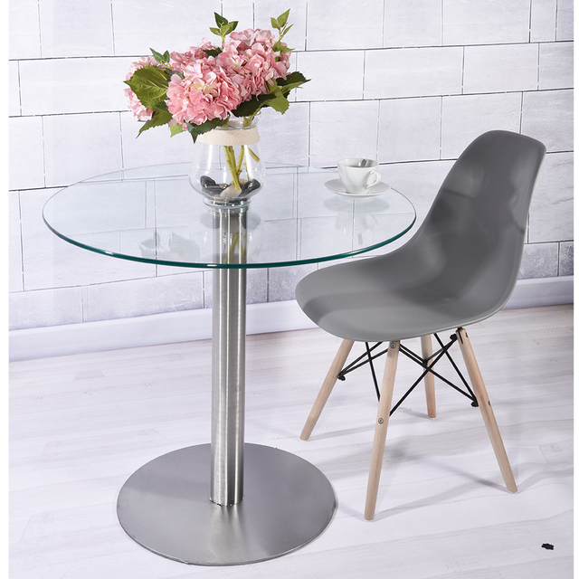 Round Dining  Table Modern 10mm Clear Tempered Glass Vitreous Stainless Steel Base Living Room Furniture dropshipping