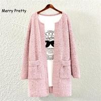 Merry Pretty New Women Spring Autumn Sweater Female Long Cardigan Korean Slim Pockets Loose Knit Sweater