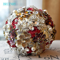 BRITNRY High Quality Luxury Wedding Bouquet Satin Rose Burgundy Flowers Bride Bouquet Beaded Brooch Bouquet