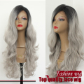 2017 New 2 Tones Synthetic Lace Front Wig Gray Grey Silver Ombre Hand Tied Body Wavy Wigs Dark Roots Heat Resistant Fiber Hair