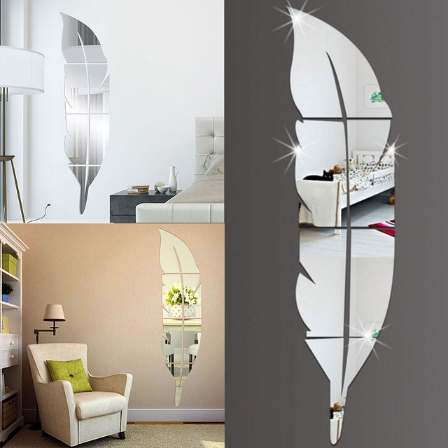 Diy Modern Feather Acrylic Mirror Wall Sticker Home Decor Room Decal Decoration Silver Adesivo De Parede