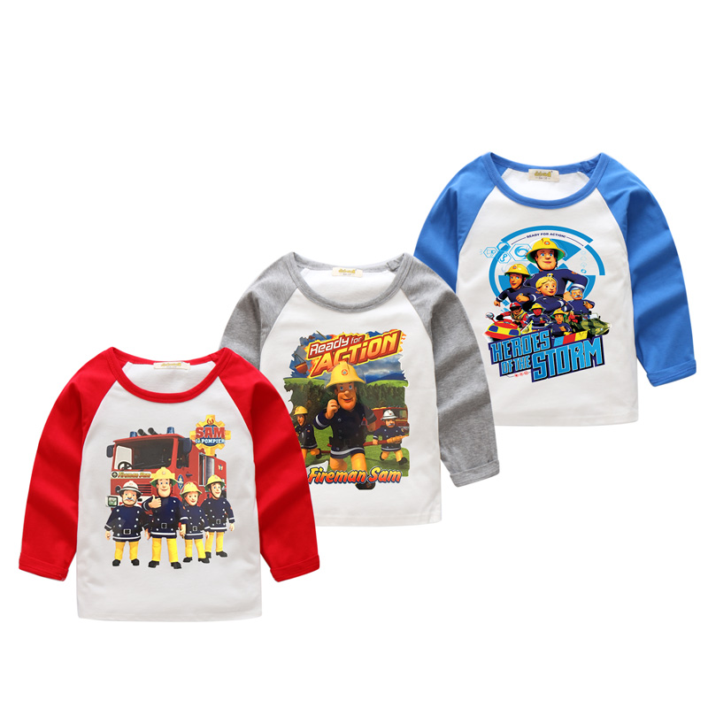 2018 Boy Girls O-Neck T-shirts For Children Long Sleeve Tee Tops Clothes Kids Spring Cotton 3D Fireman Sam Print Tshirts CX007 ruched neck frill sleeve ribbed tee