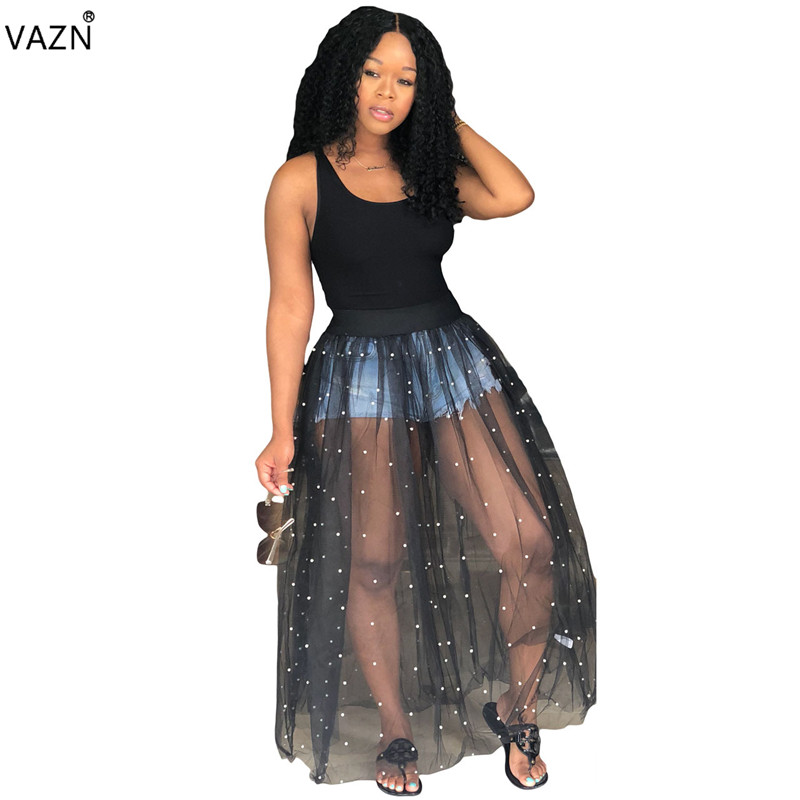 VAZN Top Quality New Design 2018 Novelty Women Ball Gown Tank Maxi Dress Lace Beading Summer Sexy Princess dress Vestido M766