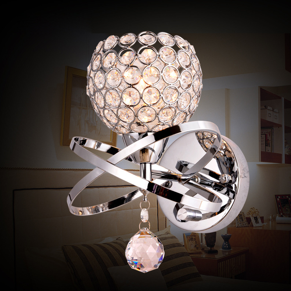 Modern Wall Lamps For Living Room : Modern minimalist crystal lamp fashion simple living room sconce bedroom bedside wall lamp e27 ...