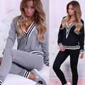 2016 New Women's Fashion 2Pcs wear Suit Sexy V-neck Stitching Costumes Top + Pants