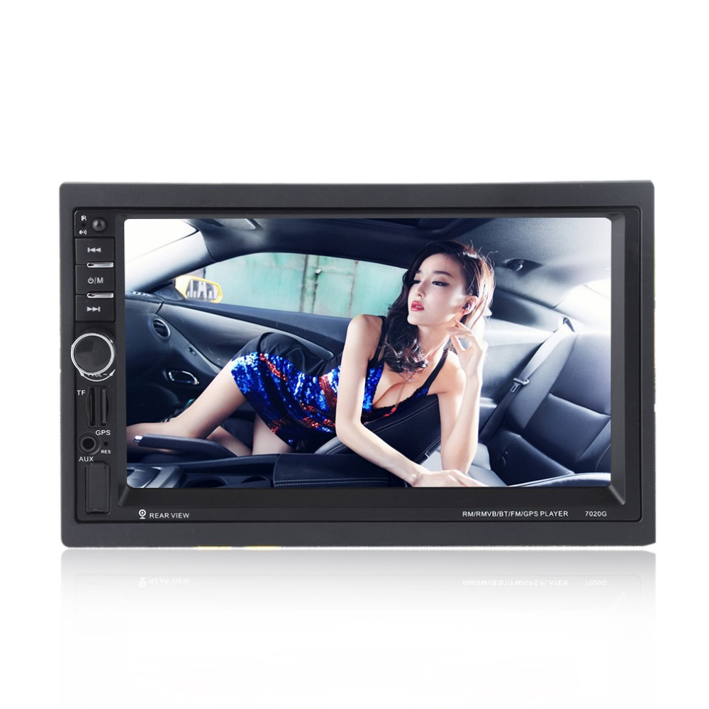 где купить New 7020G 7 inch Touch Screen Car Bluetooth Audio Stereo MP5 Player with Rearview Camera GPS Navigation FM Function And Remote дешево