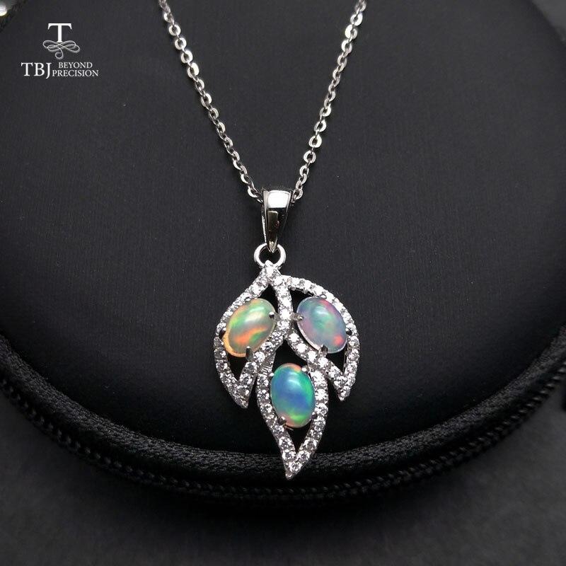 TBJ Natural Ethiopian Opal Gemstone Pendant in 925 sterling silver Tree leaf pendant for women as