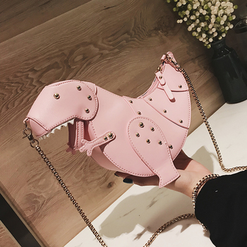 Trend Fashion 3D Dinosaur Design Rivets Pu Leather Girl's Chain Purse Shoulder Bag Tote Ladies Crossbody Mini Messenger Bag Flap 1