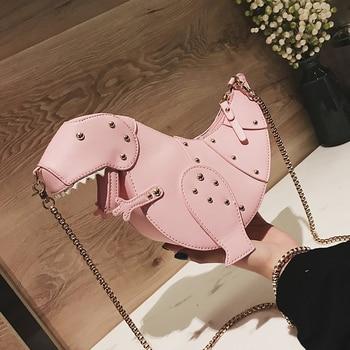 Trend Fashion 3D Dinosaur Design Rivets Pu Leather Girl's Chain Purse Shoulder Bag Tote Ladies Crossbody Mini Messenger Bag Flap 1