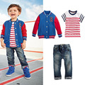 2015 baby boy kids clothes Baseball jacket+ Striped t-shirt+jeans boys clothes jacket striped T-shirt jeans 3 piece suit