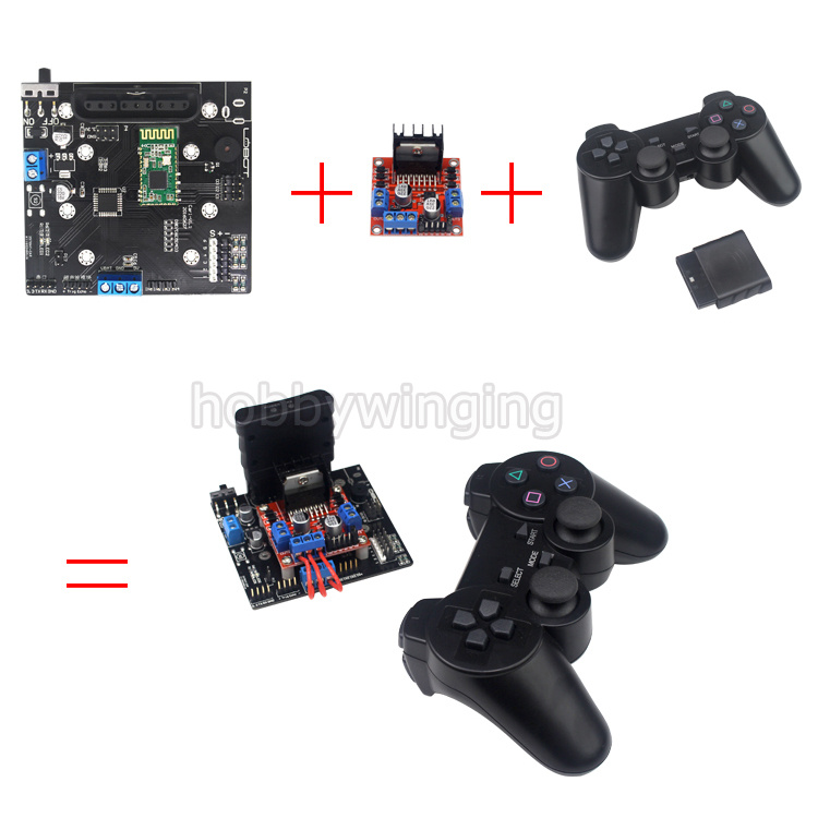 6CH Servo Control Board with L298N Motor Driver Module + PS2 wireless Control Handle for RC Smart Tracked Robot Car DIY Platform diy tracked robot frame model 7 dof abb manipulator tk3a tracked chassis with motor servo control board and xd 229 auno r3