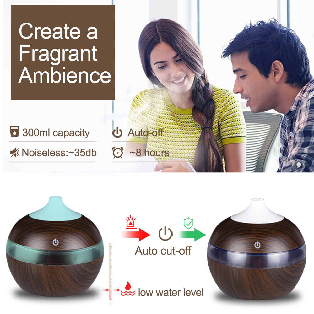 KBAYBO USB 130ml Mini Oil Diffuser  Air Purifier wood Ultrasonic Cool Mist fogger Humidifier LED light for Office Home car