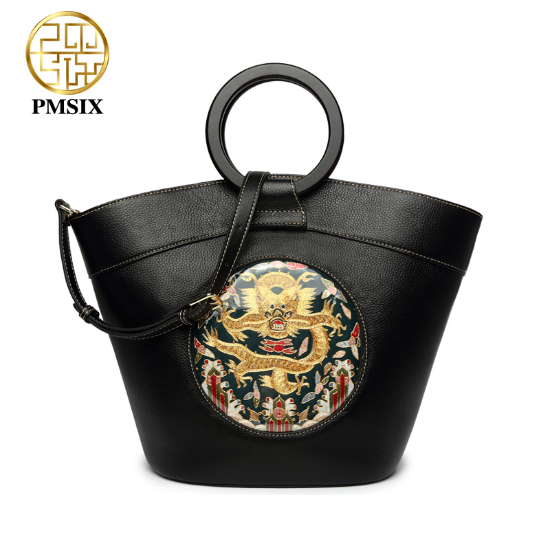 Pmsix designer brand famous in womens'bag Genuine leather Artificia embroidered handbags High quality tote messenger bags