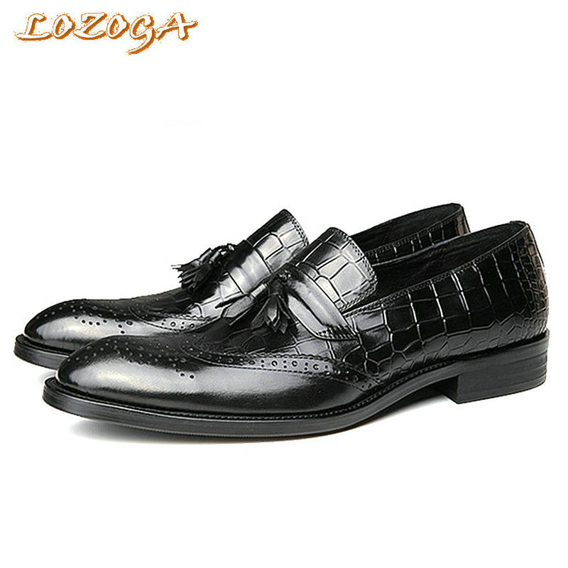 New Mens Shoes Italian Style Luxury Handmade Shoes Brogues Genuine Leather Shoes Men Carved Pointed Toe Fashion Tassel Loafers leisure footwear new 2016 suede european style leather buckle shoes mens luxury brand pointed toe italian dress shoes for men