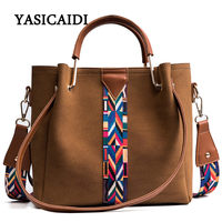 Colorful Strap Bucket Crossbody Bag High Quality Pu Leather Tote Bag Women Handbags Bags Famous Brand