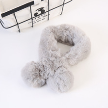 Fashion Children  Plush Scarf With Ball Cross Warm Thickened Girl Cotton Winter Soft And Comfortable