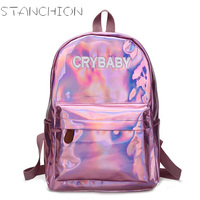 STANCHION Bright PU Leather Backpacks For Women Simple Metallic Silver Laser Backpack Girl School Bag