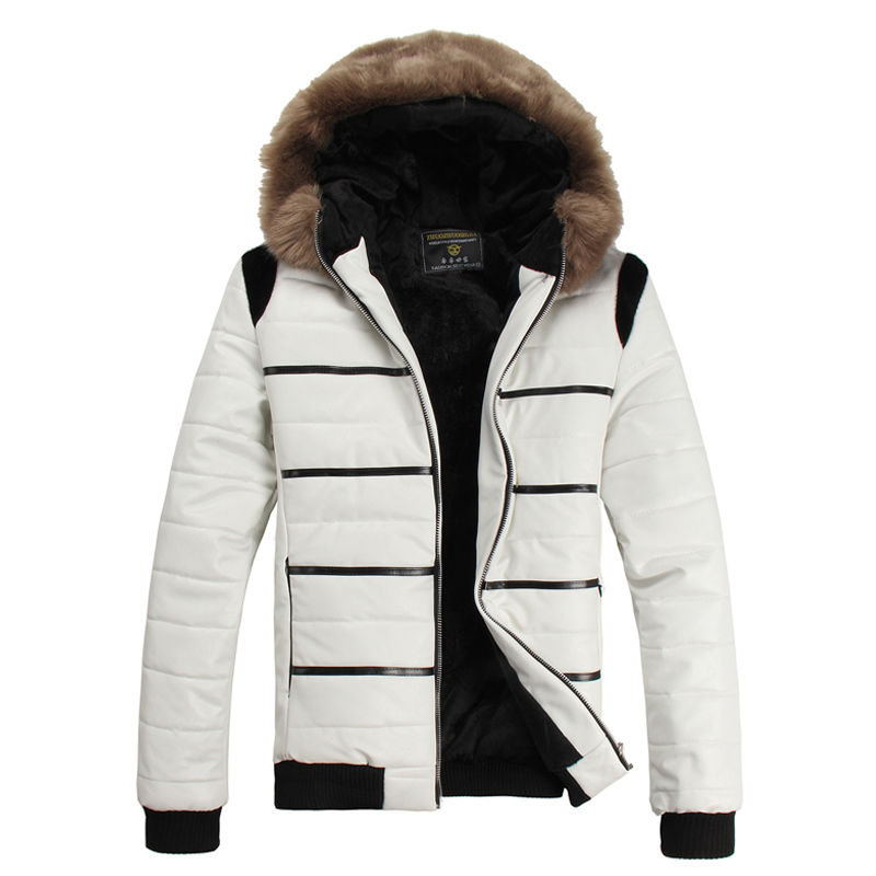 The winter men s white leather jacket PU short winter big fur collar hooded with velvet