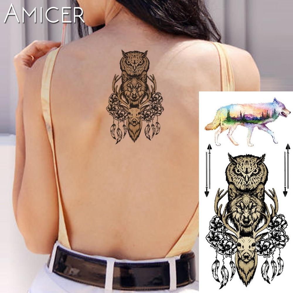 1 peça Fantasia Cor Coruja lobo Quente animal de Grande Porte Tatuagem Temporária Etiqueta Do Tatuagem Impermeável para mulheres dos homens