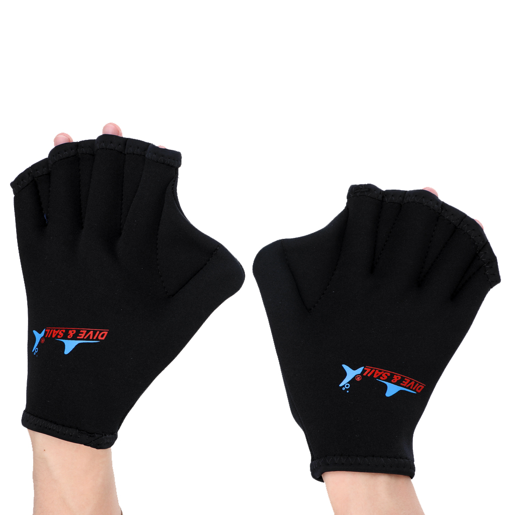 2 Pieces 2mm Neoprene Aqua Fitness Gloves Swimming Webbed Training Fins Hand Paddle Surfing Diving Gloves