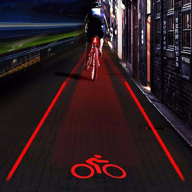 "LED Bicycle Bike Light Night 2 Laser+5 LED Rear Bike Bicycle Tail Light Beam ""bike logo""Safety Warning Red Rear Lamp Waterproof"