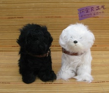 a pair of cute simulaiton teddy dog toys polyethylene&fur black and white sitting dog dolls gift about 15x9x17cm