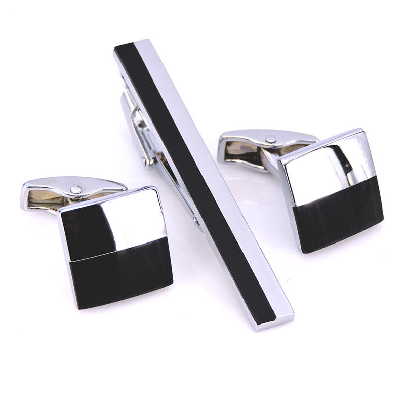 A set of high quality silver black square tie clip Cufflinkss