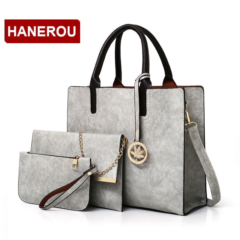 2018 New Women Bags Set 3 Pcs Leather Handbag Women Large Tote Bags Ladies Shoulder Bag Handbag+Messenger Bag+Purse Sac a Main 2018 women messenger bags vintage cross body shoulder purse women bag bolsa feminina handbag bags custom picture bags purse tote