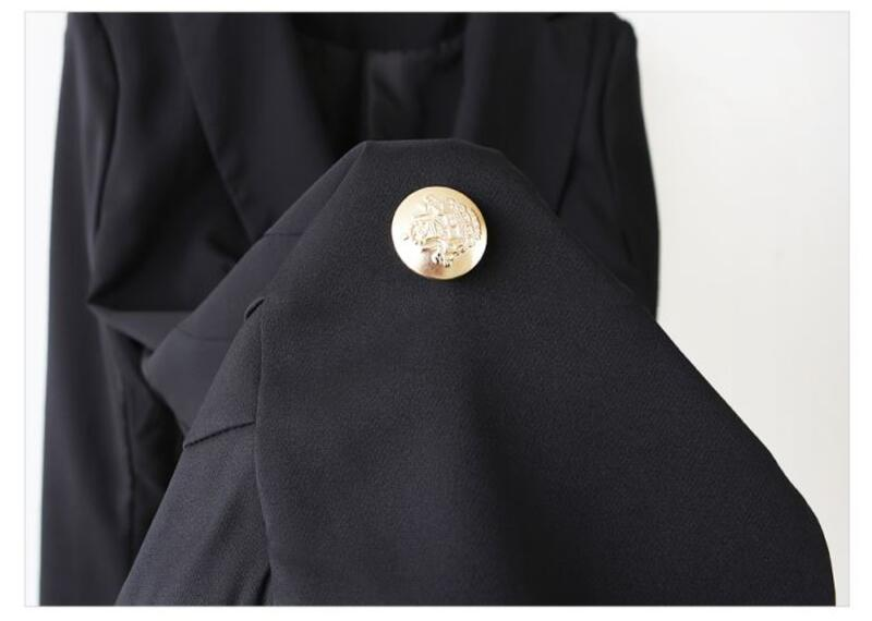 cecd29027d8 Double Breasted Women Blazers and Jackets 2017 Autumn Pleated Long Suit  Coat Women Outwear Blazer Feminino Plus Size E0221-in Blazers from Women s  Clothing ...