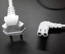 Enchufe europeo de ángulo recto de 2m a IEC C 7 cable de alimentación europeo para samsung sony lg tv, Color blanco