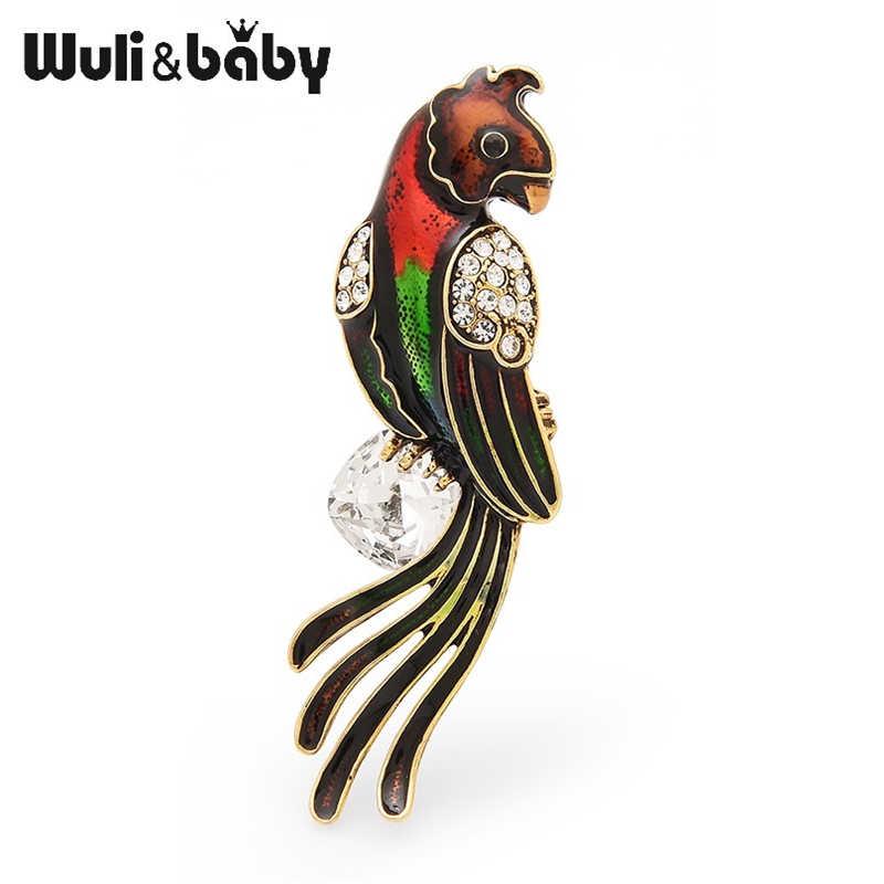 Wuli & baby Big Checa Zircon Mulheres Homens Esmalte Pássaro Papagaio Broches Casamentos Pinos Broche Presentes da Mãe