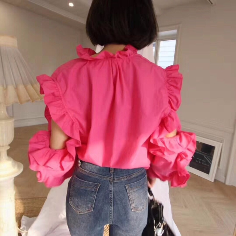 3119ba08efda1 Cheerart 2018 Spring Cold Shoulder Tops And Blouse Women Long Sleeve Ruffle  Blouse Shirt Korean Fashion Clothing-in Blouses   Shirts from Women s  Clothing ...
